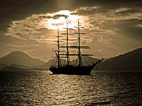 Tall ship at dusk