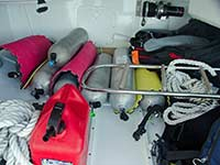 Dinghy garage with gear