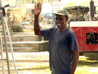 Vernon, master cleaner at Nanny Cay
