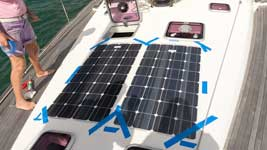 Solar panels glued on deck