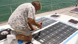 Andy edging the solar panels