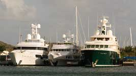 Three megayachts at Ile de Sol