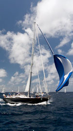 Mustique dousing the spinnaker