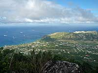 Looking down at Statia's Oranjestad
